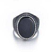 Big Black Stone Rings Men and Women Vintage Snake Skin Ethnic 316LStainless Steel Classic Retro Men's Rings все цены