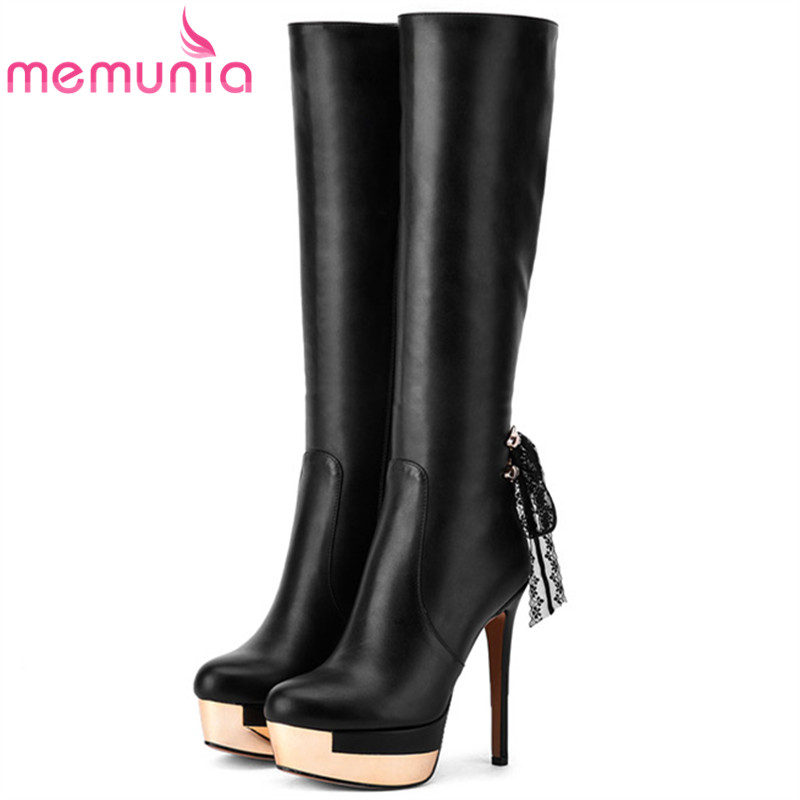 MEMUNIA Knee high boots PU soft leather fashion platform boots woman party shoes in autumn winter