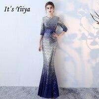 It's Yiiya 2018 Hot Sales Evening Dresses Luxury Mermaid O Neck Half Sleeve Fashion Designer Floor Length Formal Dress LX723