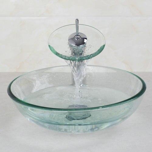 ronda de vidrio cuenca del grifo bao lavabo lavabo cristal templado pintado a mano del fregadero juego para lava