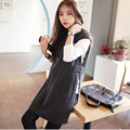 Pregnant Women Knit Nursing Sweater Dress Irregular Side Slit Sleeveless Clothes Maternity Breastfeeding Vest Solid Dark Gray