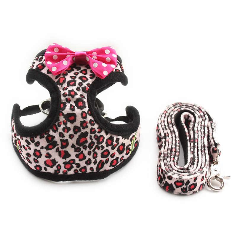 Armi loja moda leopardo padrão cão arnês pano cinta de peito cães colarinho arnês chumbo 6044022 pet leash suprimentos 5 tamanhos
