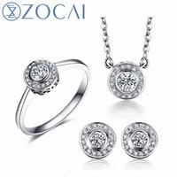 ZOCAI anel brincos colar terno real certificada total 0.14 CT/0.12 CT 18 K rose/ouro branco (AU750) jóias de casamento terno