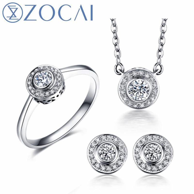 ZOCAI anneau boucles d'oreilles collier costume réel certifié total 0.39 CT 18 K or rose/blanc (AU750) costume de bijoux de mariage