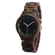 Para hombre Del Reloj de Madera de Madera de Nogal Negro Reloj Analógico Japón MIYOTA Movimiento de Cuarzo Reloj de pulsera de Madera