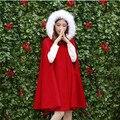 Cuello de Piel Con Capucha mujer Outwear 2016 Otoño y El Invierno de La Moda Rojo Elegante Del Cabo Abrigos Medio-largo de la Manga Del Batwing de Lana abrigo