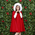 Woman Outwear 2016 Autumn and Winter Fashion Fur Collar Hooded Red Elegant Cape Coats Medium-long Batwing Sleeve Woolen Overcoat
