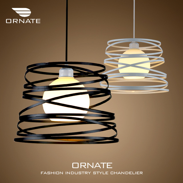 Free shipping Ounite restaurant chandelier single head modern minimalist creative personality balcony bar iron lamp