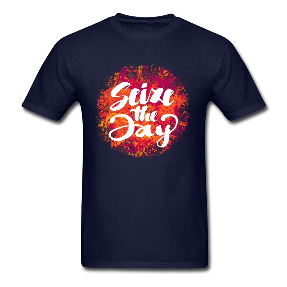 Seize the day O-Neck Top T-shirts Summer/Fall Geek Tops T Shirt Short Sleeve High Quality 100% Cotton Fabric Tee Shirts Mens