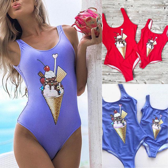23caa6f49f Mom Girls Family Matching One-piece Swimsuit Women Moms Kids Baby Girls Ice  Cream Bikini Bathing Suit Swimwear Swimsuit