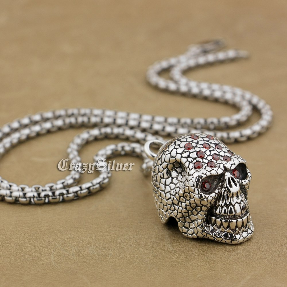 925 Sterling Silver Red CZ Stones Skull Mens Biker Pendant 9S024 Free Shipping solid 925 sterling silver skull mens biker pendant 8c011 with matching stainless steel necklace
