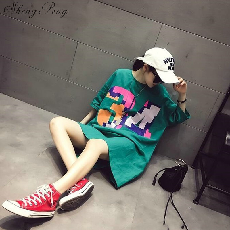 2018t shirt women female long harajuku shirt long sleeve women shirt summer style long cotton t shirt large size CC295 2