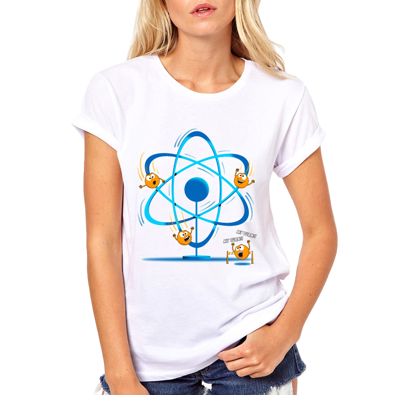 2018 Casual O-neck Printed T shirt Hipster Top Tees Homme Summer Womens Science Electron Cool T-Shirt