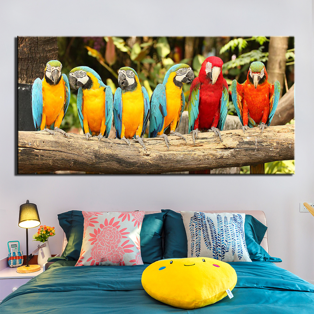 1 Pieces Animal parrot Painting Canvas Wall Art Picture Home Decoration Living Room Canvas family house Wall Decor