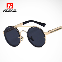 Trimmed Iridescent Mirror Round Sunglasses Women Metal Steampunk Goggles Circle Sun Glasses Men With Brand Case