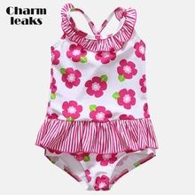 Charmleaks Baby Girls' One Piece Swimsuits Flower Print Swimwear Ruffle Kids Cute Bikini Beach Wear