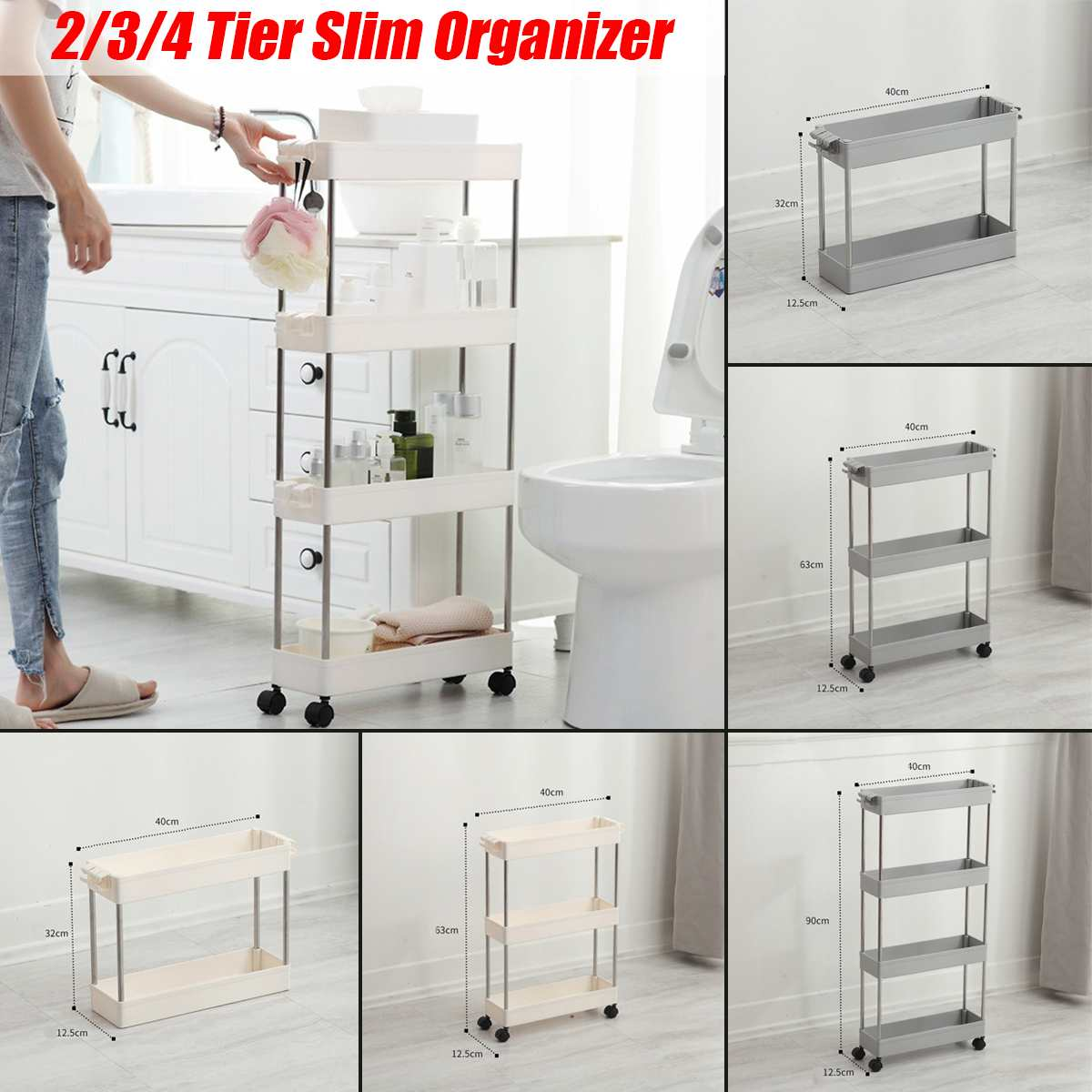 2/3/4 Layer Movable Gaps Kitchen Storage Rack Slim Slide Tower Assemble Plastic Bathroom Shelf Wheels Space Saving Organizer