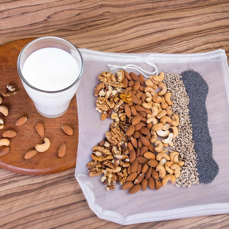 30x30cm Reusable Nylon Nut Milk Bag Mesh Filter Food Strainer Multiple Fruit Juice Coffee Tea Filter
