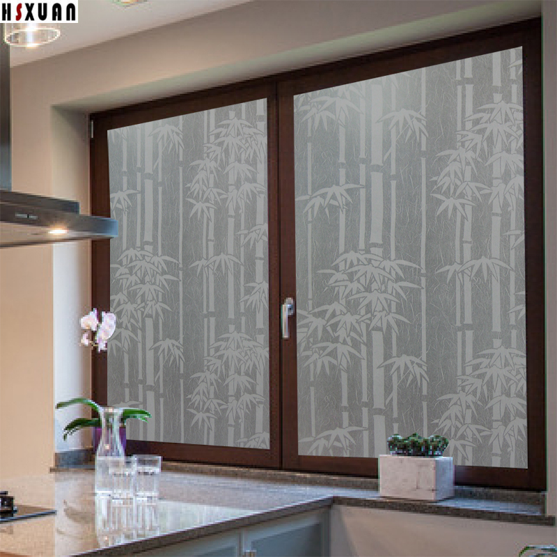 bamboo decorative window film sunscreen decal 50x100cm pvc frosted privacy glue window sticker - Frosted Window Film
