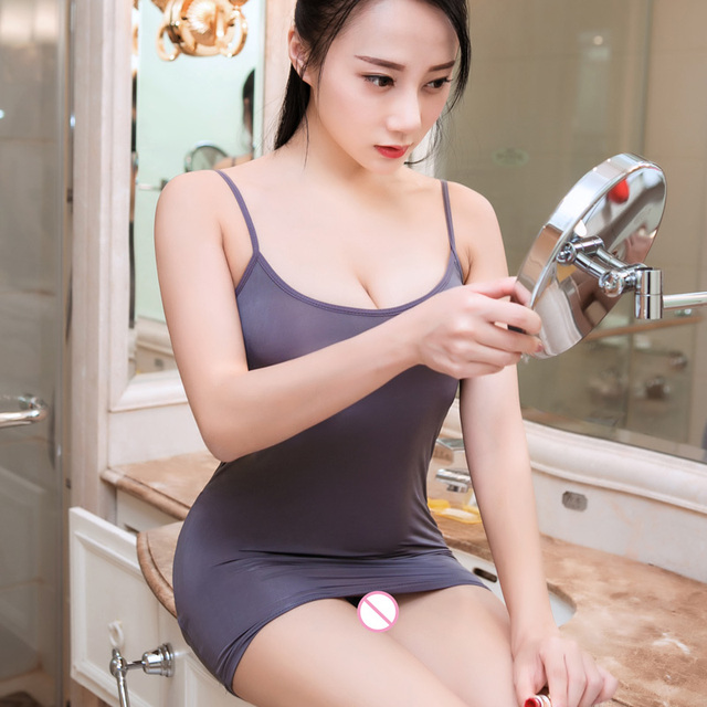 Sexy Women Strap Tight Pencil Cute Dress Ice Silk Smooth See Through Micro Mini Dress Transparent Bandage Dress Stage Wear F10 6
