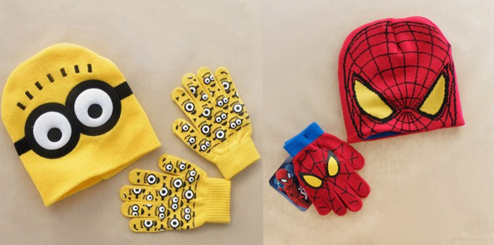2pcs/set Brand new Hot Sale Children Winter Cartoon minions Spider-Man knitted hat+gloves Children creative gift Free shipping simplicity wholesale 2pr set knitted touchscreen gloves