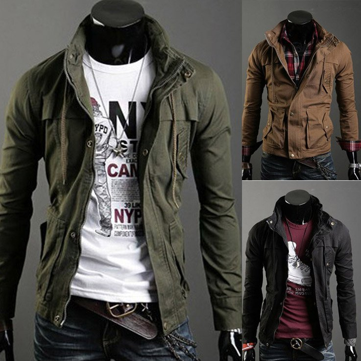 Free Shipping Cc238 New Fashion Man Slim Fit Overcoat Outdoor