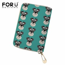 FORUDESIGNS Credit Card Holders Women Schnauzer Printing Passport Cover for Female Portable Travel Necessity Ladies Cases