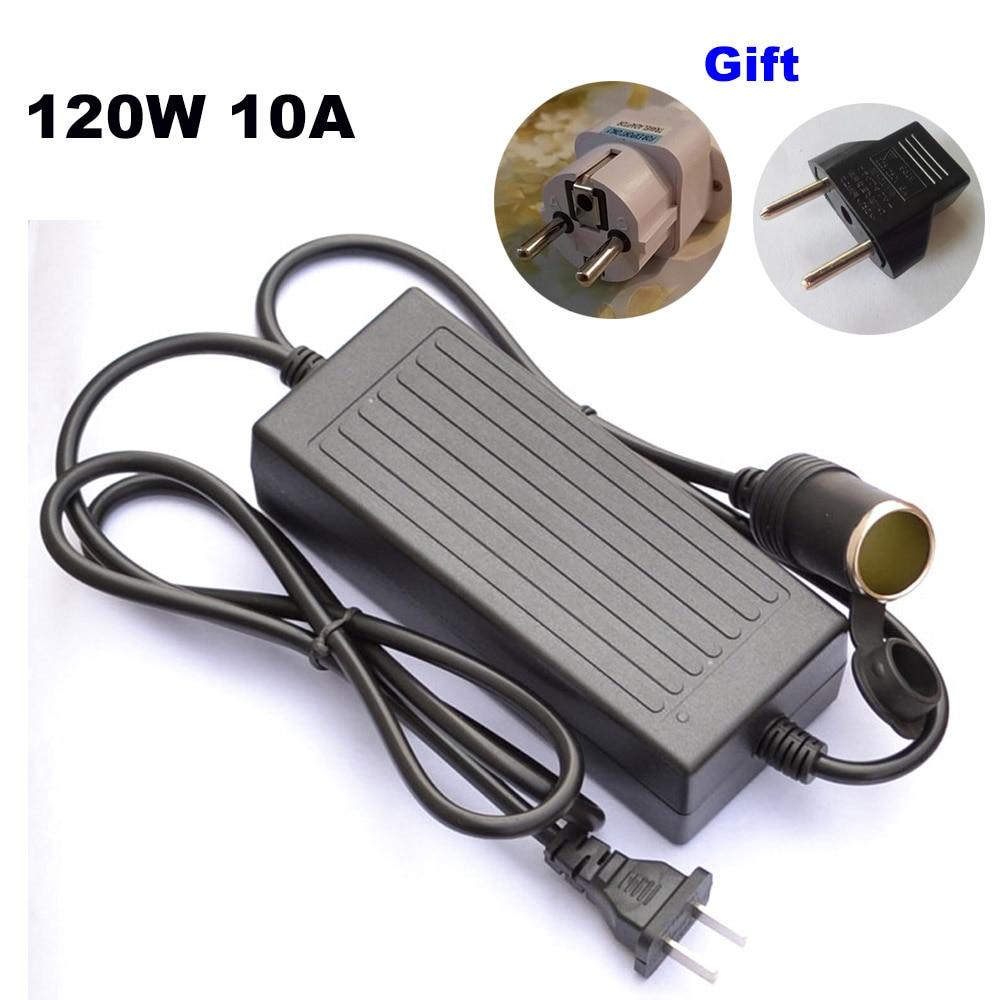 120W Power convert AC 220v to 240V/110V input DC 12V 10A output adapter car power supply cigarette lighter converter US EU plug-in Cigarette Lighter from Automobiles & Motorcycles