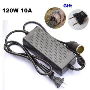 Image 1 - 120W Power convert AC 220v to 240V/110V input DC 12V 10A output adapter car power supply cigarette lighter converter US EU plug