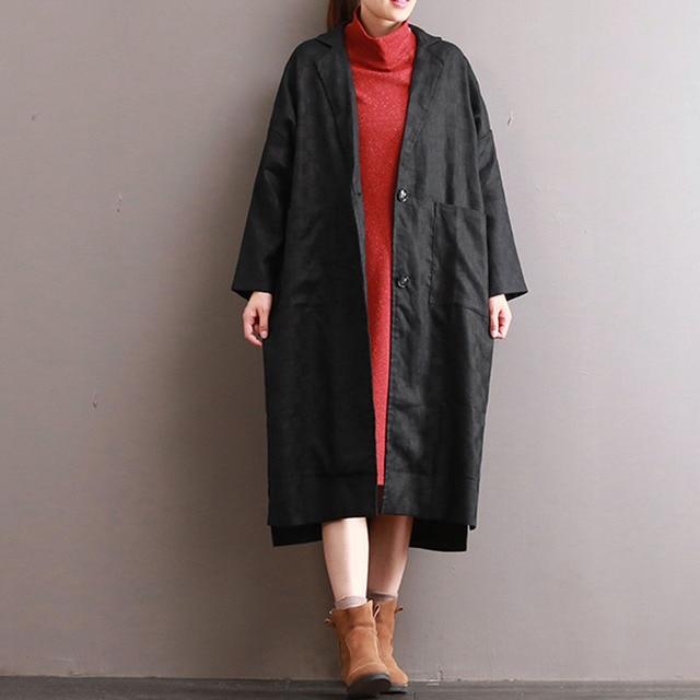 b9c5f1fc2f7 ZANZEA Vintage Women Lapel Long Sleeve V Neck Buttons Pockets Velvet Coat  Solid Split Hem Long Baggy Jacket Outwear Plus Size