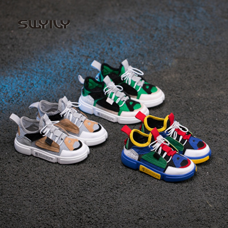 SWYIVY Kid's Sneakers Mesh Breathable Super Light Skateboeading Shoes 2018 Autumn Slip-on Anti-slip Boys And Girls Sport Shoes