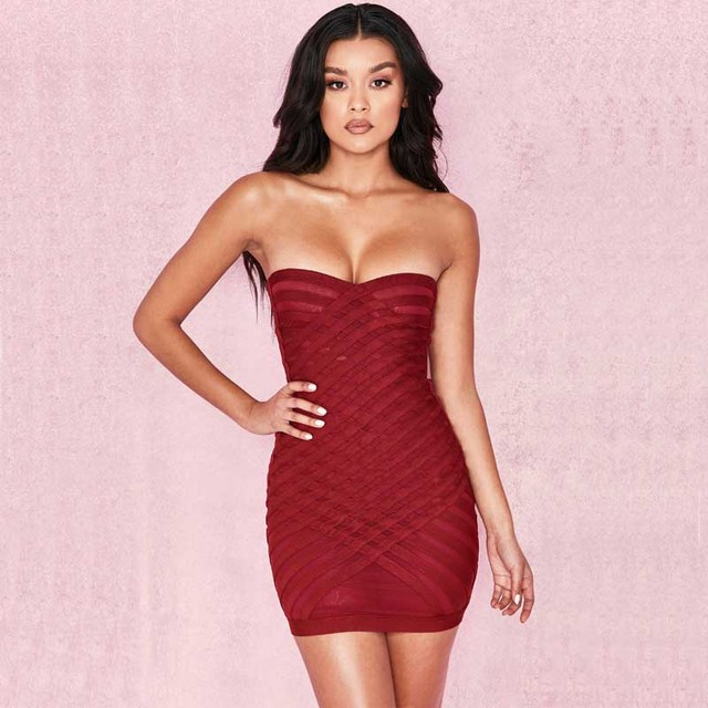 431dba3ac270 wholesale New dress Red wine Strapless Net yarn perspective Tight mini Sexy  celebrity party bandage dress (H2174)-in Dresses from Women's Clothing on  ...