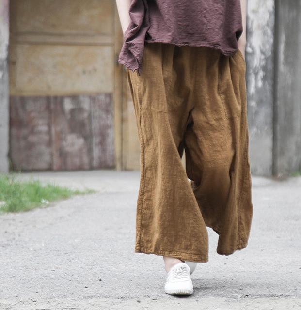 155af8edb3 US $31.62 15% di SCONTO Vintage Mori Ragazza Elastico In Vita Pantaloni di  Lino Sciolto pantaloni Larghi del Piedino del Cotone di Estate Hippie Boho  ...