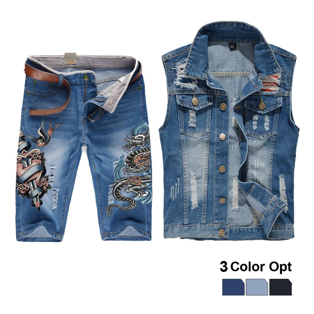 Men Jean Vest Jacket Set Retro Ripped Destroyed Skinny Hole Top Denim Short Pants 1/2 Trousers Summer Beach Wear Blue Heart Fire