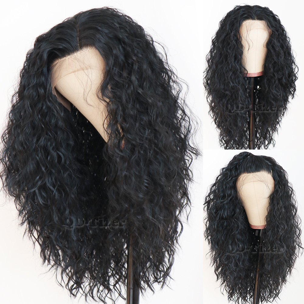 Black Hair Loose Curly Lace Wigs Long Natural Baby Hair 180 Density Glueless Heat Resistant Synthetic