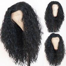 Siyah Saç Gevşek Kıvırcık Dantel Peruk Uzun Doğal Bebek Saç 180 Yoğunluk Tutkalsız Isıya Dayanıklı Sentetik Dantel Ön Peruk kadın