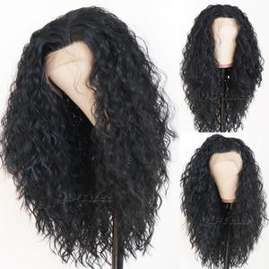 Image 1 - Zwart Haar Los Krullend Lace Pruiken Lange Natuurlijke Baby Haar 180 Dichtheid Lijmloze Hittebestendige Synthetische Lace Front Pruiken voor vrouwen