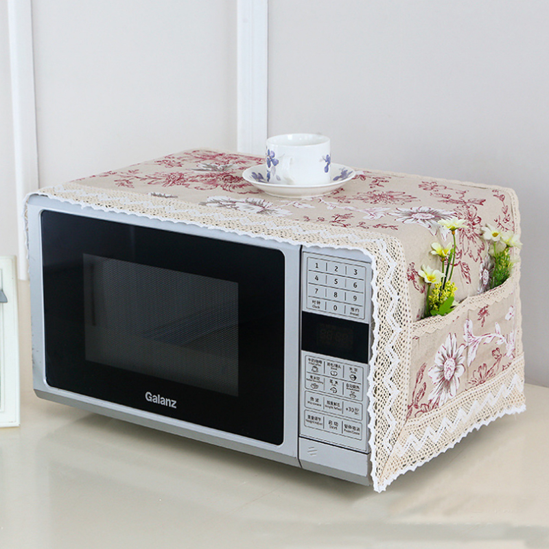 1 PC Cotton Printing Dust Cover Microwave Cover Towel With Double Pocket Microwave Oven Hood Home Storage Organization