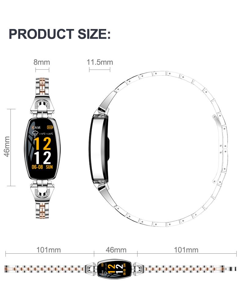 IP67 H8 Women Fashion Smart Wristband Heart Rate Blood Pressure Smart Bracelet Fitness Tracker Smart Watch Women Reloj Mujer 25