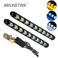 2x Car Flexible DRL White Amber Switchback LED Knight Rider Strip Light Headlight Arrow Flasher DRL