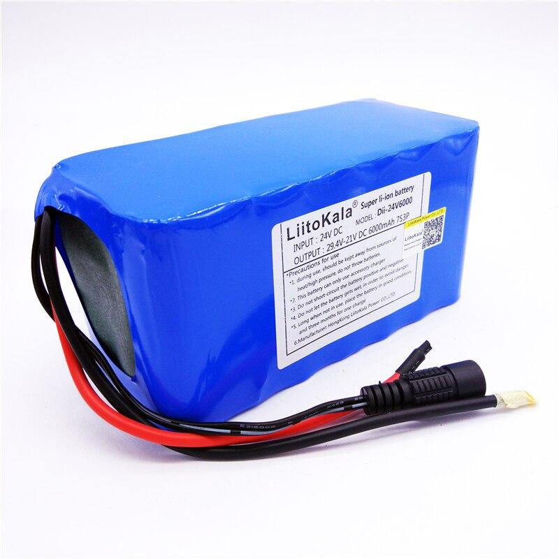 HK LiitoKala 24V 6Ah 7S3P 18650 Lithium Ion Battery 29 4V 6000mAh For Electric Bicycle