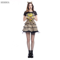 SESERIA Sexy Leopard Halloween Cosplay Costumes For Role Playing Carnival Costume Woman Adult Animals Dress With