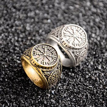 1 PCS Vintage Compass Viking Rune Finger Rings Nordic Runes Size 8 Biker Punk Odin Symbol For Women Men Gothic Jewelry Gift
