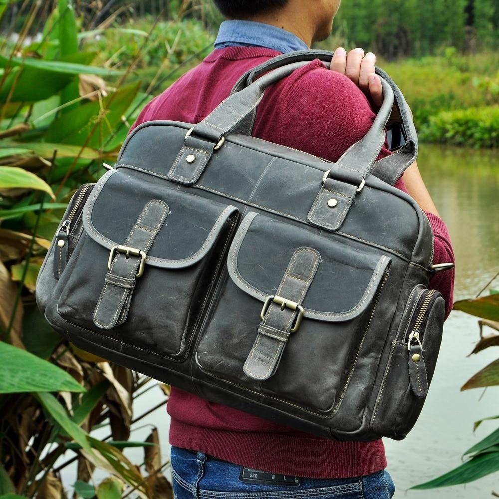 Hot Sale Design Real Leather Casual Fashion Men Briefcase Business Laptop Case Attache Messenger Bag Tote Bag For Men 061