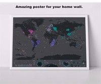 Travel World Scratch Map Gold Foil Black Scratch Map Scratch Off Foil Layer Coating World Map
