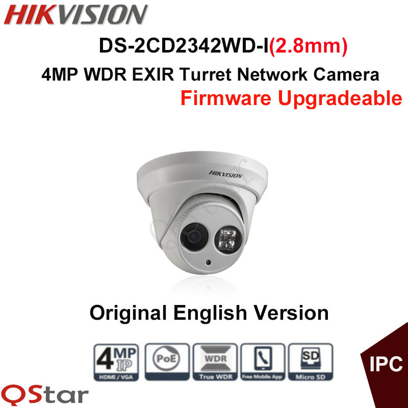 Hikvision Original English Version Surveillance Camera DS-2CD2342WD-I(2.8mm) 4MP WDR EXIR IP Camera POE Security CCTV Camera hikvision cctv poe 4mp camera ds 2cd3345 i hd night version onvif exir turret wdr dome ip security camera replace ds 2cd2345 i