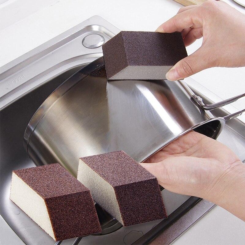 1PC Fashion Emery Strong Magic Sponge Cleaning Brush Dish Bowl Washing Sponge Kitchen Pot Pan Window Glass Cleaner Tools