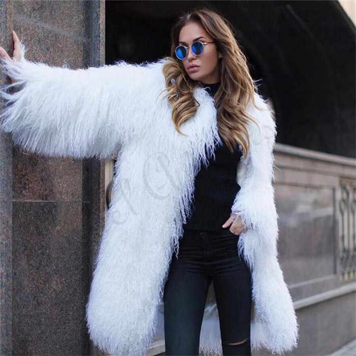 Milan 2019 tüm moğolistan koyun kürk palto kadınlar için 100CM uzun ünlü hakiki kuzu kürk ceket Wam koyun kürk abrigos mujer