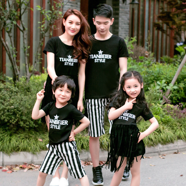 Family Matching Clothes for Summer 2016 Matching Clothing Set for Dad & Son Dress for Mother and Daughter Family Fashion Outfit