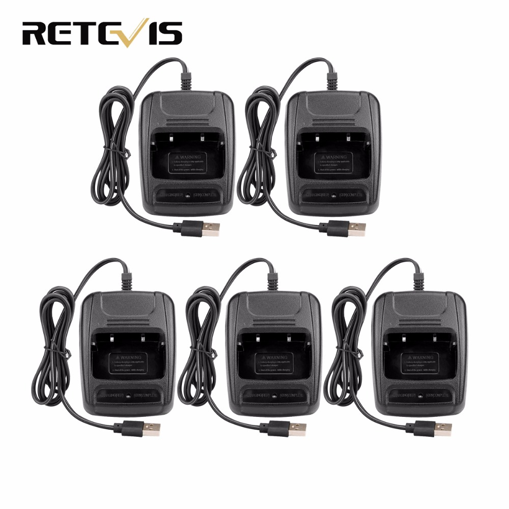 5pcs USB Li-ion Battery Charger For Retevis H777 Baofeng 888S BF-888S Walkie Talkie J9104E